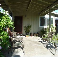 Santa Cruz house photo - Entry and garden patio for hanging out. Perfect place for morning coffee!