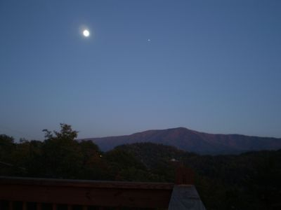 The Moon and Jupter rising over Cove Mountain