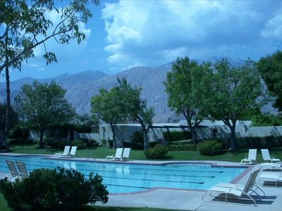 Palm Springs condo rental - Community swimming pool and the VIEW!!