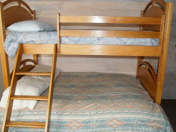 One of two bunk beds in Dorm room. This is a twin on top and full on the bottom