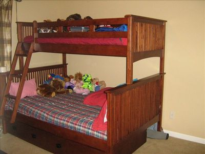 Guest bedroom, full mattress on bottom and twin on top, sleeps 3 comfortably