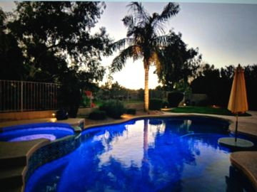 Chandler house rental - Pool with Open Space Behind Home