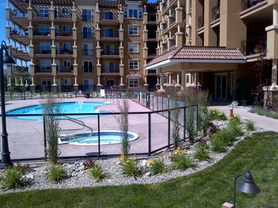 This pool and hot tub is yours to enjoy right outside the condo!