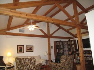 Annapolis house photo - Timber Frame construction. Cathedral living room.