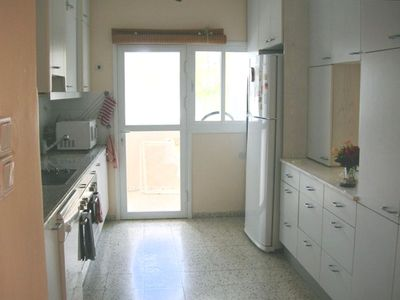 Fully equipped kosher Kitchen: Dishwasher, microwave, large fridge, double sinks