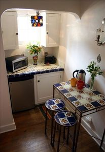 Kitchenette with mini fridge, microwave; Dishes, gourmet coffee, teas provided.