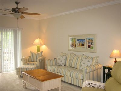 Windy Hill condo rental - Living Room with queen sleeper sofa and reclining chair