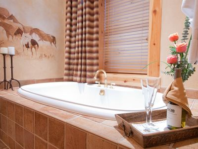 Spacious master suite full bath oversize tub