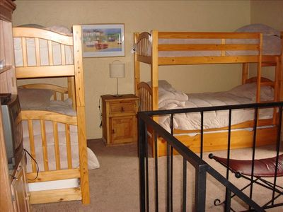 The loft has two bunk beds, each with a trundle to sleep 6. Kids love it.