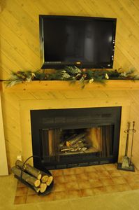 Wood burning fire place and flat screen TV in cozy family room with wooded view.