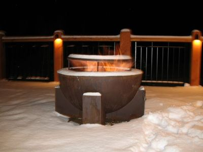The firepit on the deck overlooks the gondola