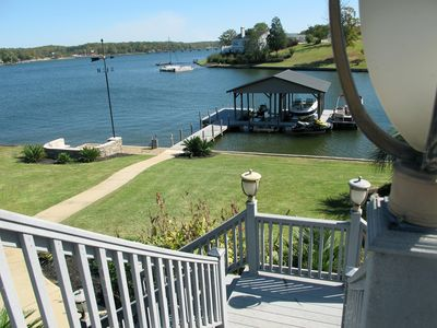 View from Deck overlooking Lakeside Fire Pit and Docks