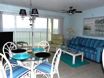 Long Beach Resort condo rental - Living Area with Gulf View, Balcony access and Large HDTV