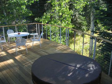 private deck in the summer with the mountains and river views