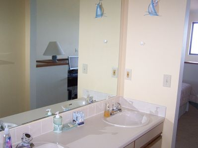 Port Clinton condo rental - double sink in the master loft.