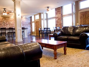 Bear Lake lodge rental - Great room with two seating areas and eating spaces for 35 guests.