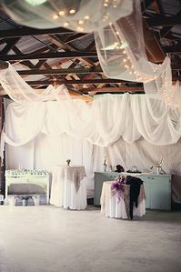 The Party Barn decorated for a beautiful rustic wedding.