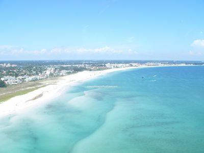 An ariel view of Siesta Key and Crescent Beach- ranked the best beach in America