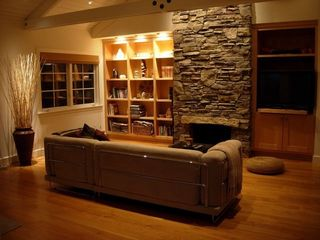 Palo Alto house photo - living room with stone fireplace