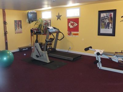 workout room-bike, treadmill, free weights, bands, wt machine, ball