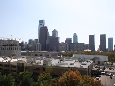 Daytime Skyline. Barnes Museum is the white rectangular building to the right