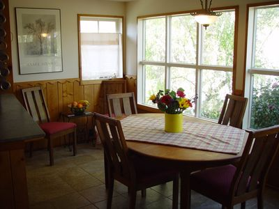 Dining room with expanding table to seat eight