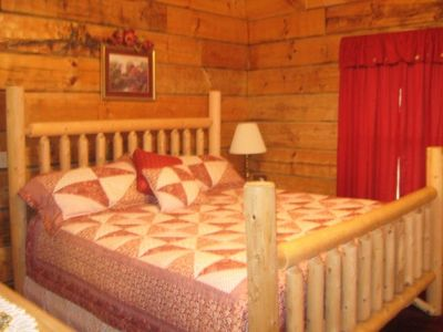 King size log bed