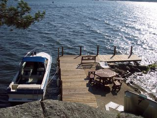 Gilford house photo - Deep water dock, seating for sunset dinner on the dock!