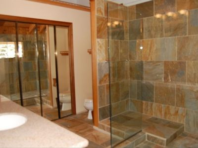 Master Bathroom with large glass enclosed shower