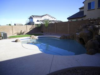 Gilbert house photo - Backyard. Pool, Slide, Waterfall, Grotto, Artificial Turf