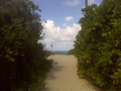 Path to the beach. Beautiful walk or bike ride. Dont forget the boogie boards.