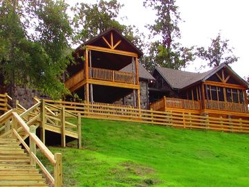 Guntersville Lake cabin rental - The front of Eagles Rock on Preston Island, porches across front; amazing views.