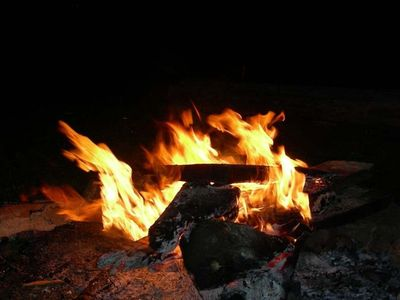 Firepit in the backyard of Rock Creek Cabin - Chattanooga TN Vacation Rental