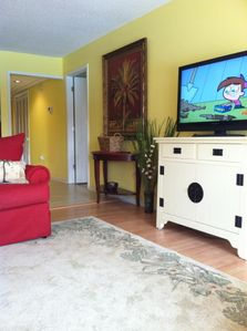 42 inch flat screen TV in the living room area.  Both bedrooms have TV's also.