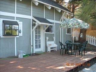 Moonridge chalet photo - Large back deck and patio, fenced, with great view