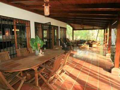 Santa Teresa estate rental - The Dining table on the lanai looking out to the beach for meals. Seats 8.