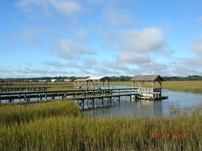 Marsh view from Pawleys Island looking back at our home area