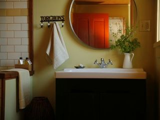Boonville farmhouse photo - Upstairs bathroom with shower and custom made, herbal soap and shampoo