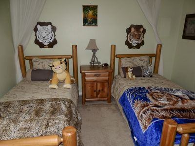 Sandy Ridge house rental - Safari Room- two rustic twins, TV and attached bath.