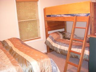 2nd Floor Bedroom with double bed and twin bunk beds! - Towamensing Trails chalet vacation rental photo