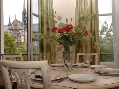 Dining room with view of Notre Dame