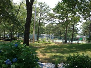 West Yarmouth cottage photo - View of tennis court and play area from back deck