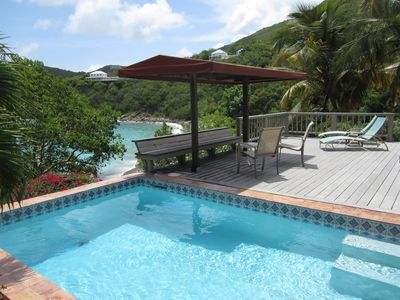 Private pool and large sundeck with shaded gazebo