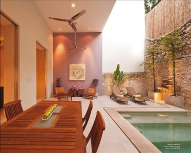 outdoor terrace and pool
