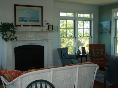 Block Island house rental - Living Room with Gas fireplace