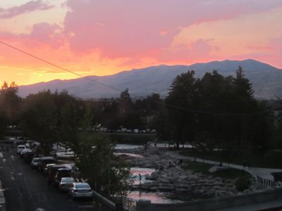 Reno condo rental - A spectacular sunset as seen from our living room picture window