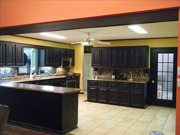 Newly remodeled kitchen. The fridge is in front of the oven. Extra one in garage