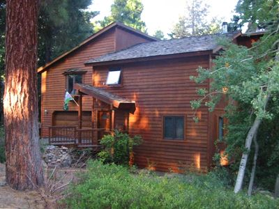 Front of our Lake Tahoe home on wooded underground utility street