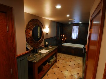 Master bath features new air tub and walk in shower...