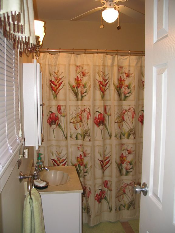 Bathroom with tub in upstairs rental